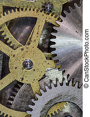 clock mechanism gears and cogs close up