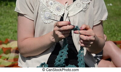 tatting needlecraft - woman with decorative white blouse...