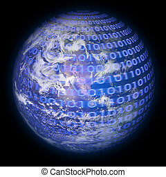 Worldwide - Concept of global information and technology of...