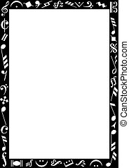 Black border with music signs - Background with a black...