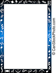 BACKGROUND WITH MUSIC SIGNS - Background with a blue...