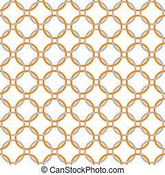 Orange, Gray and White Interlaced Circles Textured Fabric...