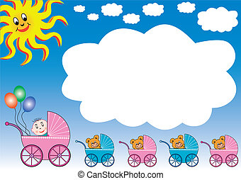 white cloud, sun and baby strollers - blue gradient...