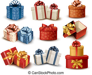 Set of colorful retro gift boxes with bows and ribbons...