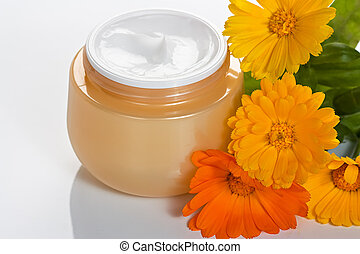 Face cream - Cosmetic facial and body cream in jar with...