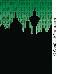 city silhouette and binary code - black silhouette of a city...