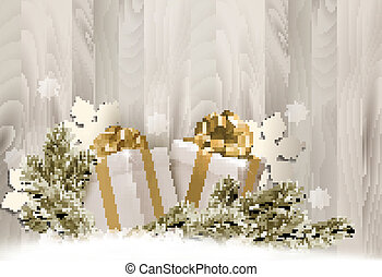 Christmas holiday background with gift ribbon with gift...