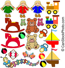 collection of toys - colorful collection of childrens and...