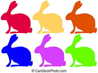 colored rabbits - Six colored easter rabbits Lossless...