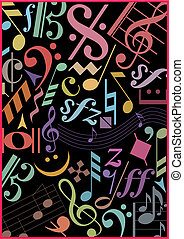 COLORED MUSIC SIGNS ON BLACK - Background with colored music...
