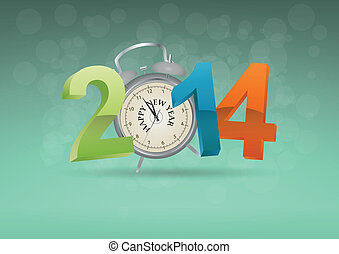 time 2014 - illustration of 2014 text with alarm clock