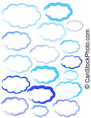 CLOUD SHAPES ILLUSTRATION - Clouds in different paint s and...