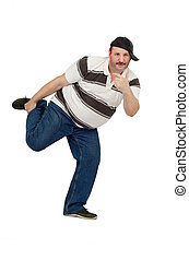 Funny dancing middle aged rapper isolated on white...