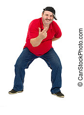 Fat mature guy tries to dance rap isolated on white...