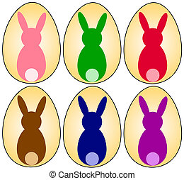 EASTER EGGS - Easter eggs with bunny silhouette in different...