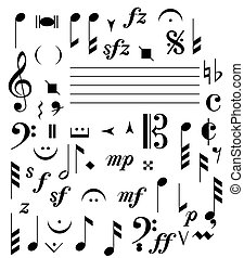 music notes - isolated music notes and signs
