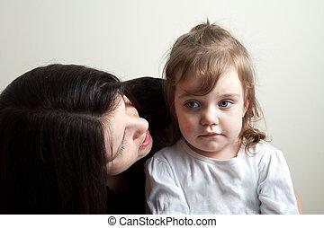hija, obteniendo, hablado, a