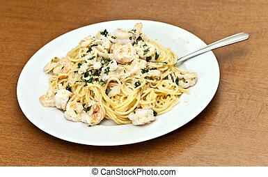 Calamari Shrimp Pasta Dish - A delicious shrimp scampi pasta...