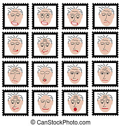 stamps with faces - collection of stamps with faces in...