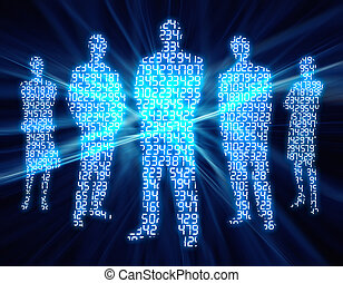 Business Group - Silhouette of people with digital numbers...