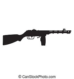 machine gun silhouette - abstract machine gun silhouette on...