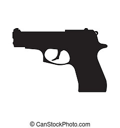 Pistol silhouette - abstract pistol silhouette on a white...