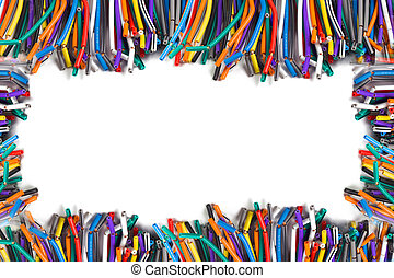 colored wires isolated on white background structure with...