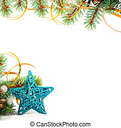 Christmas tree branch with gold serpentine and star on white...