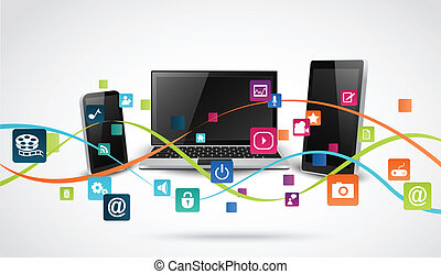 Tablet computer and mobile phones - Vector Illustration of...