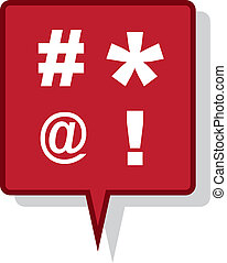 Speech Bubble Expletives - Large red speech bubble with...