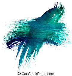 blue green watercolors spot blotch isolated