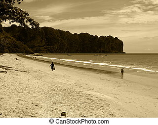 Ao Nang - Sepia-toned landscape of paradise beach at Ao...
