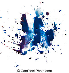 blue blot stain smear watercolor paint isolated on white...