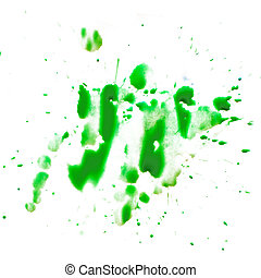 green smear spot blot is isolated on a white background