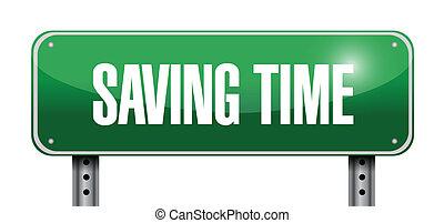 saving time road sign illustration design over white