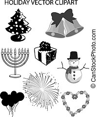 Winter Holidays Vector Clipart Set - Black and white winter...