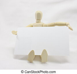 3D Man Sitting with Blank Business Card