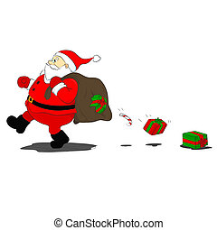 santa Klaus loses gifts - gifts fall out of the bag ripped...