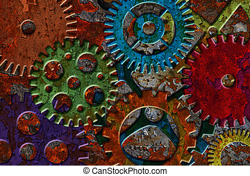 Rusty Gears on Grunge Texture Background - Rusty Colorful...