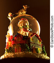 Xmas snowglobe - Snowglobe for holidays with Santa Claus and...