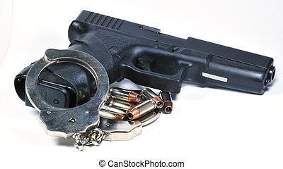 pistola, esposas, balas