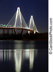 Ravenel Bridge reflection at night