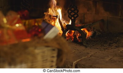 christmas scene gifts and fireplace