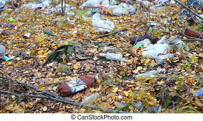 Garbage among autumn leaves in forest - Pollution of forest:...