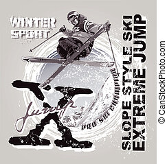 sky slope style extreme jump - winter sport vector...