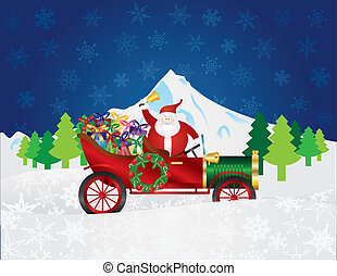 Santa Claus on Vintage Car with Presents Night Snow Scene -...