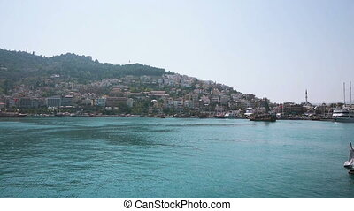 Ships in bay of Alanya, Turkey - Summer view of...