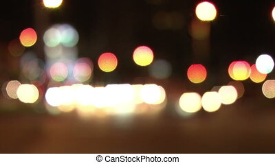 Out of focus city car lights