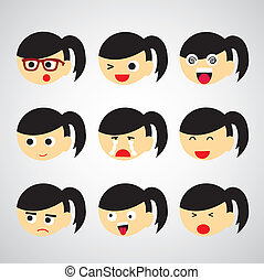 face emotion vector cartoon style