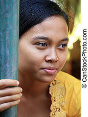 Portrait young woman - Portrait of the Indonesian smiling...